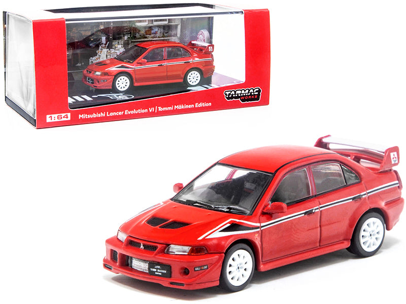 Mitsubishi Lancer Evolution VI Tommi Makinen Edition Red with Black and White Stripes 1/64 Diecast Model Car by Tarmac Works