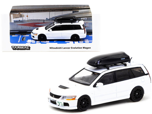 Mitsubishi Lancer Evolution Wagon with Roof Box White 1/64 Diecast Model Car by Tarmac Works