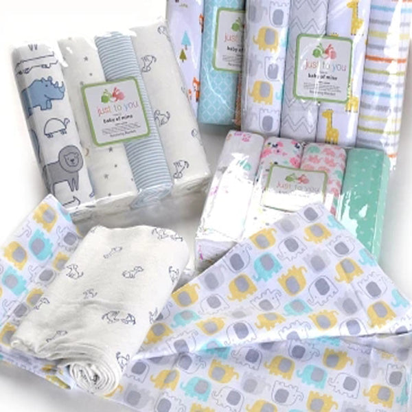 4Pcs/Lot Muslin 100% Cotton Flannel Baby Swaddles Soft Newborns Blankets