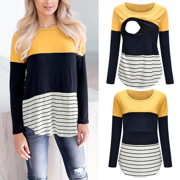 Long sleeve Striped Print t-shirt Maternity breastfeeding tops