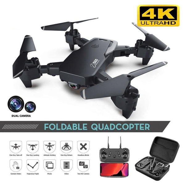 4k HD Wide Angle Camera 1080P WiFi fpv Drone Dual Camera Quadcopter