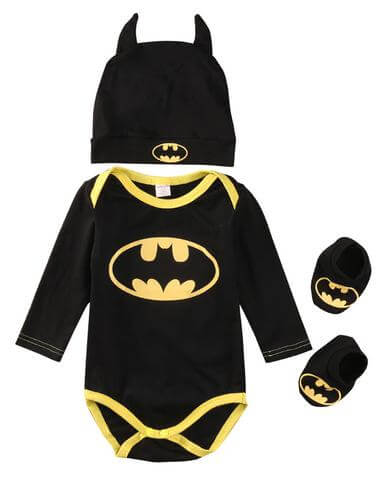 Cute Batman Newborn Baby Boys Rompers+Shoes+Hat 3Pcs Outfit Clothes Set