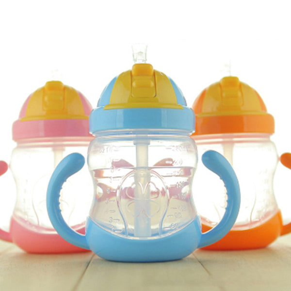 280ml Cute Baby water Bottle Drinking Straw Kids