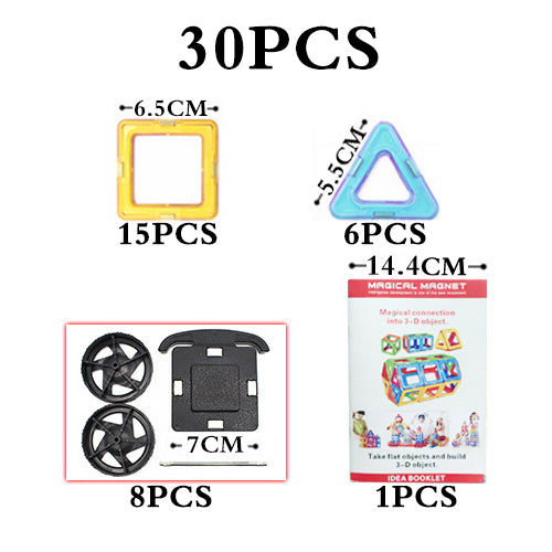 Big Size Magnetic Blocks Technic Plastic Building Magnetic Blocks Enlighten Assembly Toys For Children - 30Pcs Magic Blocks - Educational