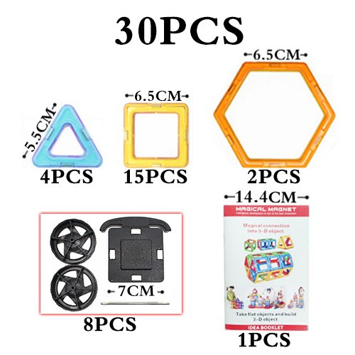Big Size Magnetic Blocks Technic Plastic Building Magnetic Blocks Enlighten Assembly Toys For Children - 30Pcs Magic Blocks 1 - Educational