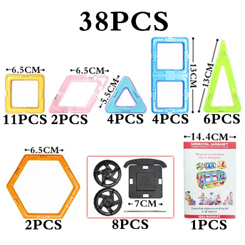 Big Size Magnetic Blocks Technic Plastic Building Magnetic Blocks Enlighten Assembly Toys For Children - 38Pcs Magic Block 2 - Educational