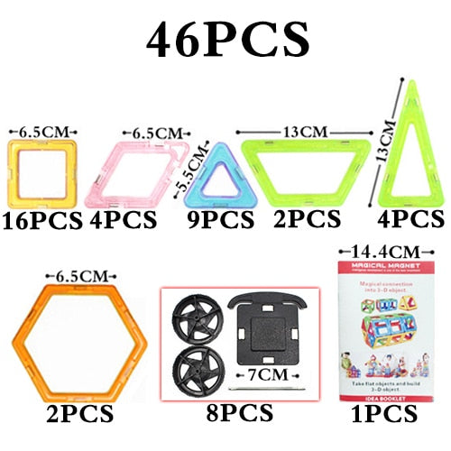 Big Size Magnetic Blocks Technic Plastic Building Magnetic Blocks Enlighten Assembly Toys For Children - 46Pcs Magic Block 2 - Educational