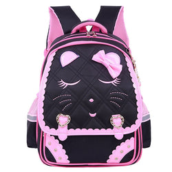 Fashion Sweet Cat Girls School Bags Waterproof Cartoon Pattern - Kids Books