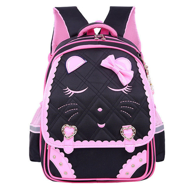 Fashion Sweet Cat Girls School Bags Waterproof Cartoon Pattern - Black - Kids Books