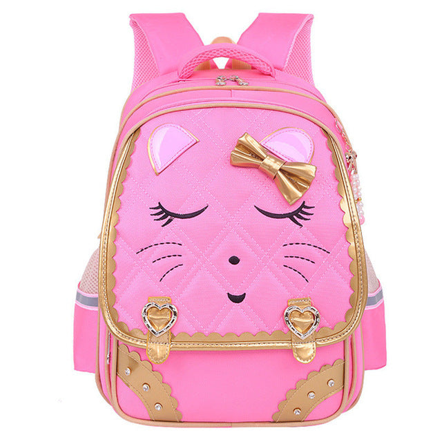 Fashion Sweet Cat Girls School Bags Waterproof Cartoon Pattern - Pink - Kids Books