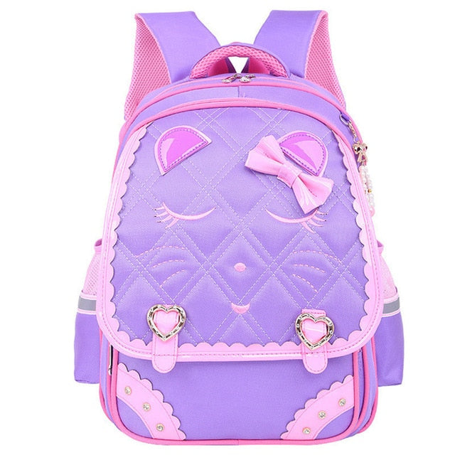 Fashion Sweet Cat Girls School Bags Waterproof Cartoon Pattern - Purple - Kids Books