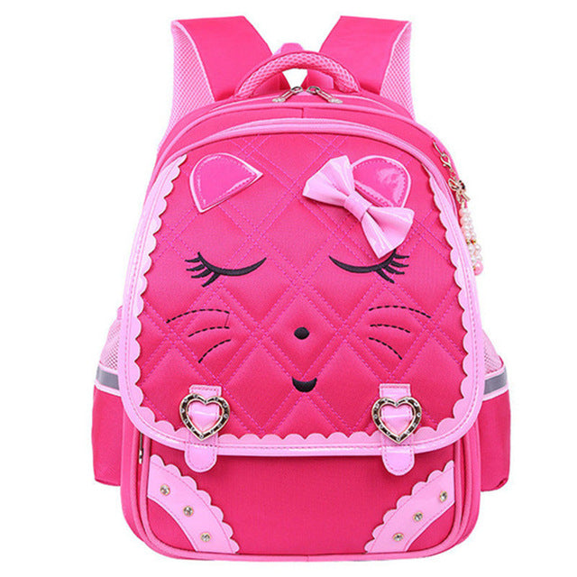 Fashion Sweet Cat Girls School Bags Waterproof Cartoon Pattern - Rose Red - Kids Books