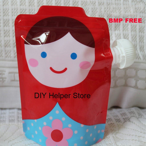 Reusable cute squeeze packaging bags with zip lock Kids feeding pouches