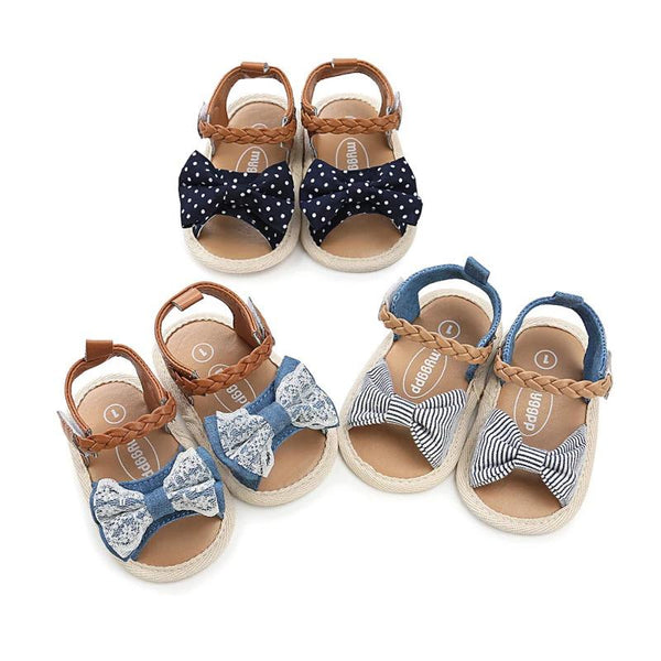 Soft Sole PU Baby girls Canvas bow First Walkers Shoes