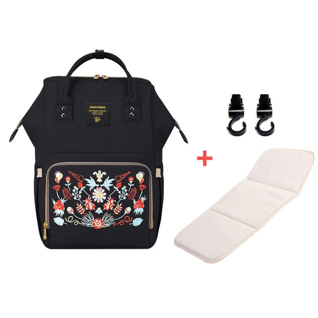 Mummy Maternity Diaper Bag - Flower Black H - Baby Accessories