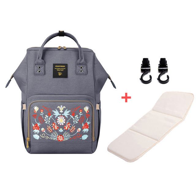 Mummy Maternity Diaper Bag - Flower Gray H - Baby Accessories