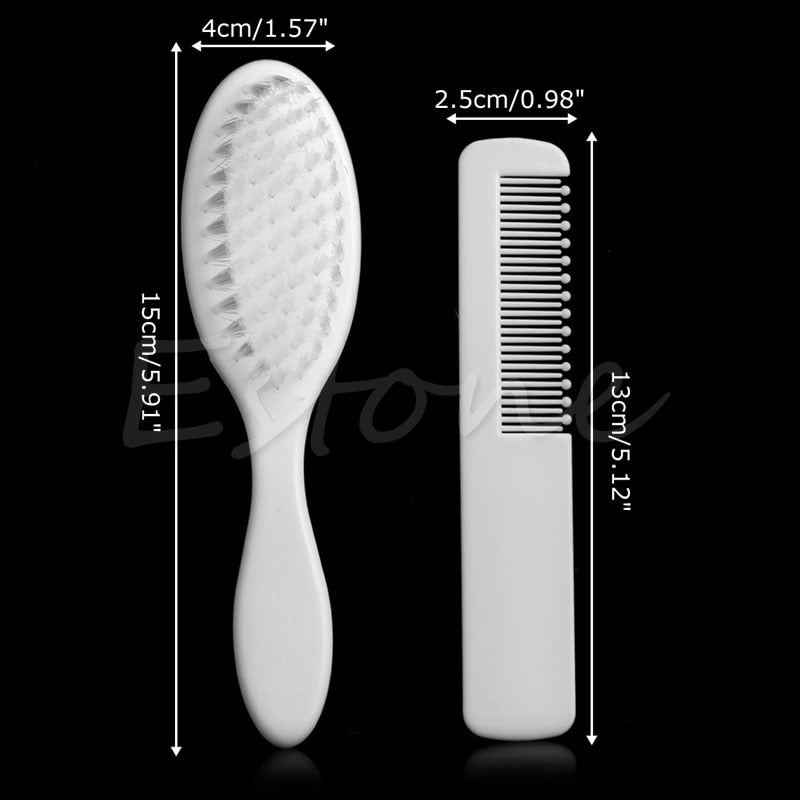 2Pcs White Safety Soft Baby Hair Brush Set Infant Comb Grooming