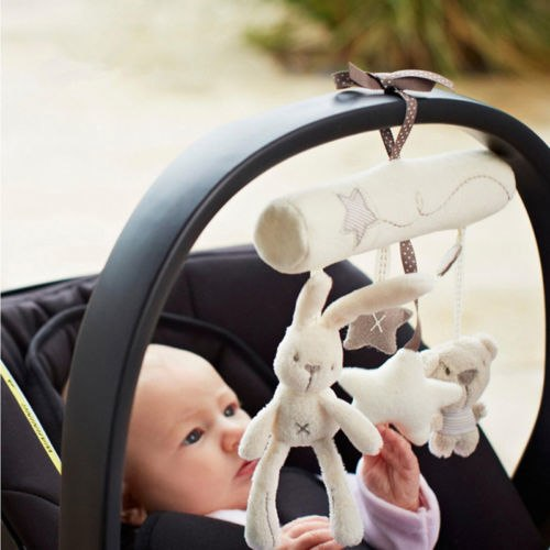 Cute Toddler Rattles Plush Rabbit Stroller Music Hanging Bell Toy - Toddler Toys
