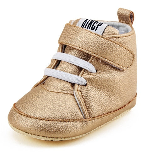 Pu Leather Hook & Loop Baby Shoes Cotton Sole Shoe