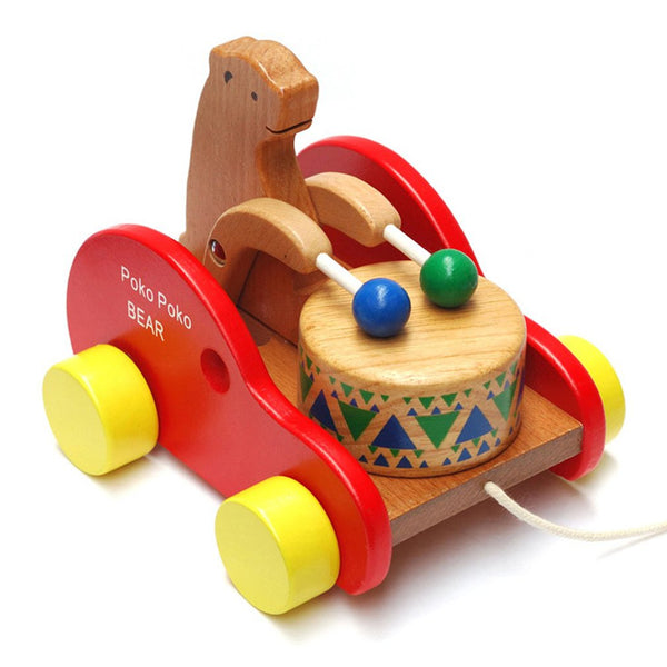 Drum Bear Wooden Pull Toy Wood Car Toddler Toys
