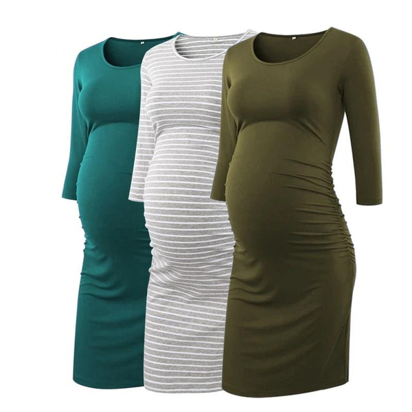 3pcs Side Ruched Maternity Dresses 3 quarter Sleeve Bodycon Pregnancy Dress