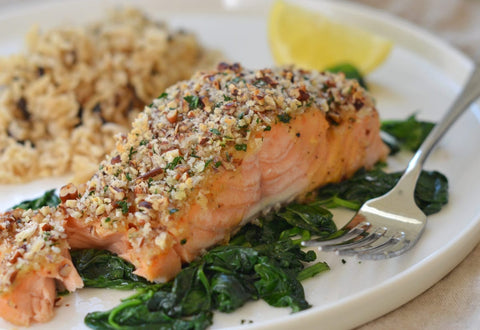 Salmon with honey mustard and pecan-panko crust