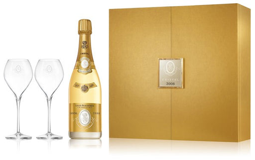Louis Roederer Cristal Brut Millesime Gift Box with Glasses 2008, 750ml