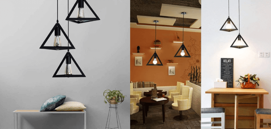 metal triangle shape hanging light footer 1