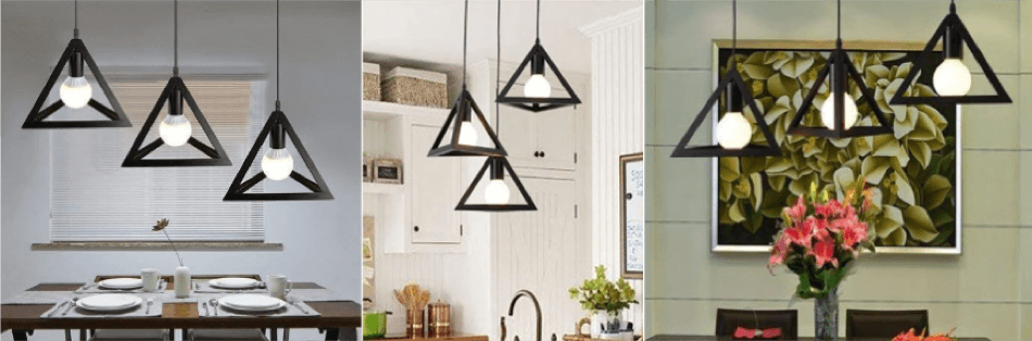 metal triangle shape hanging light footer 3