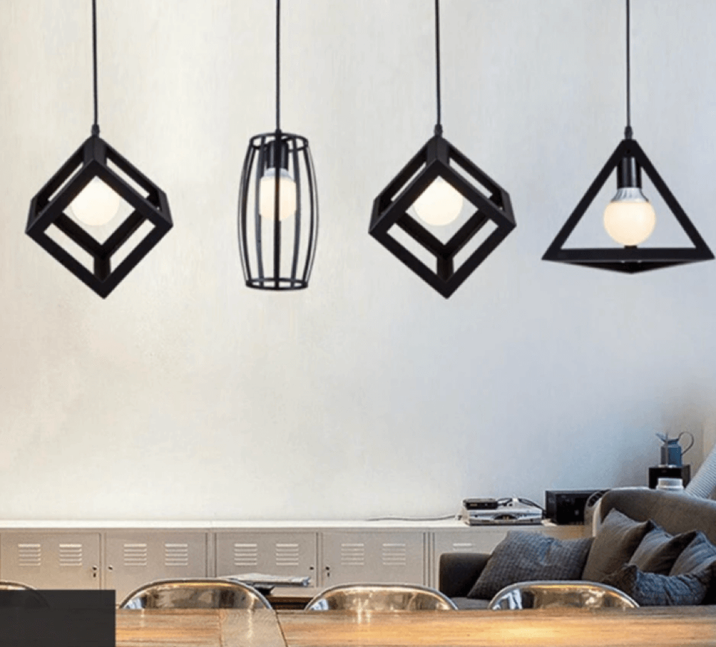 metal square cube hanging light footer 1