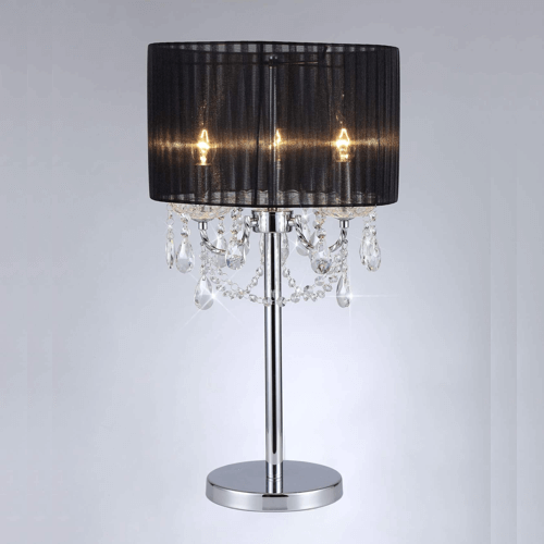 Sparkler Black Fabric Table Lamp - 3 Lights
