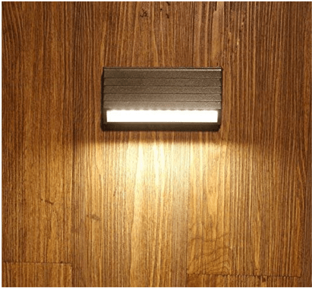 4 Watt Led Outdoor Exterior Step Up/Down, IP65 New Long Grey Finish Warm White