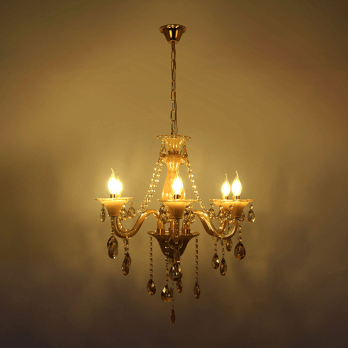 6 lights amber chandelier 1