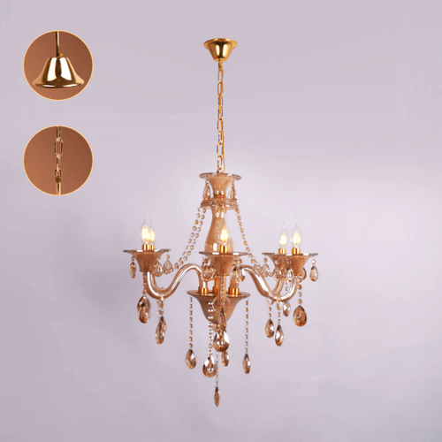 6 lights amber chandelier 4