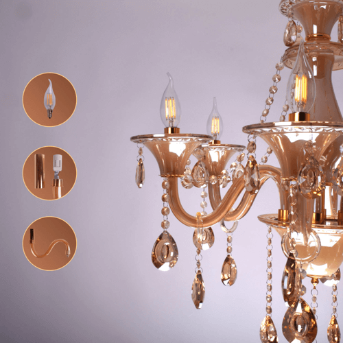 6 lights amber chandelier 6