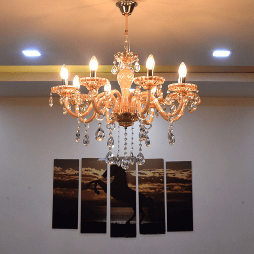 8 lights amber chandelier 2
