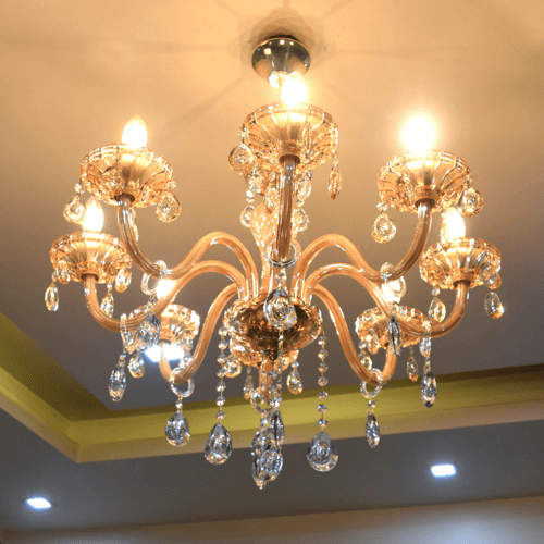 8 lights amber chandelier 3