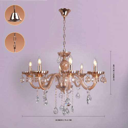 8 lights amber chandelier 5