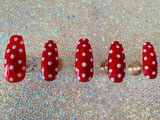 coffin shape red polka dot press on nails