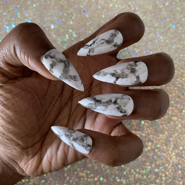 stiletto marble press on nails