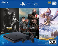 PlayStation 4 1TB Jet Black - Bundle - God of War + Horizon Zero Dawn: Complete Edition + The Last of Us: Remastered