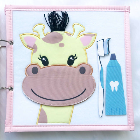 Pretty Childish:2NDS SALE - Giraffe & Tic Tac Toe Page (BLUE & PINK),PINK
