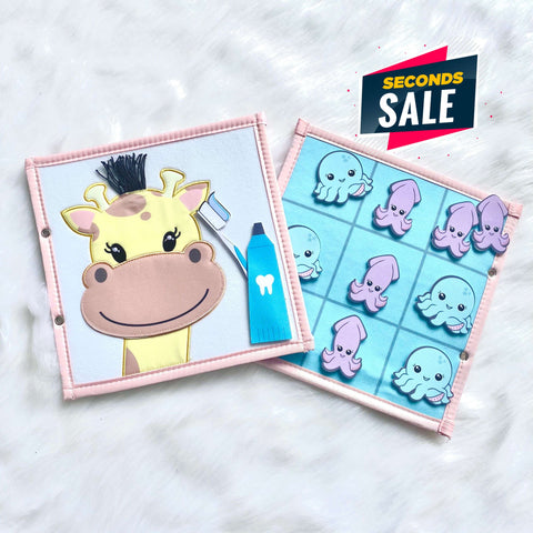 Pretty Childish:2NDS SALE - Giraffe & Tic Tac Toe Page (BLUE & PINK)