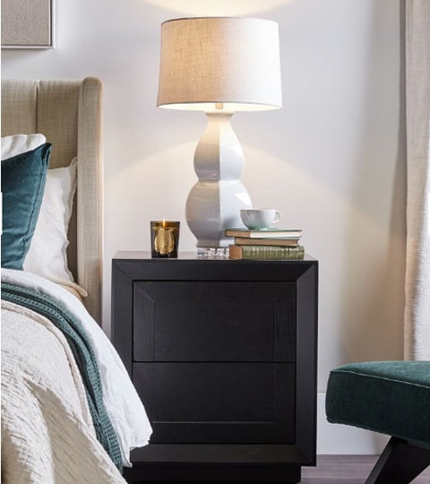 dark nightstand décor