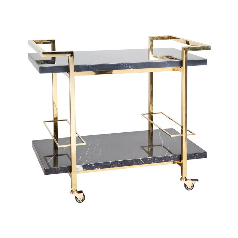 Franklin Black Marble Drinks Trolley - Gold