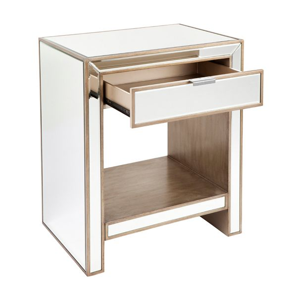 Sabrina Mirrored Bedside Table - Antique Gold