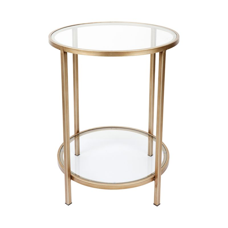 Cocktail Glass Round Side Table - Antique Gold