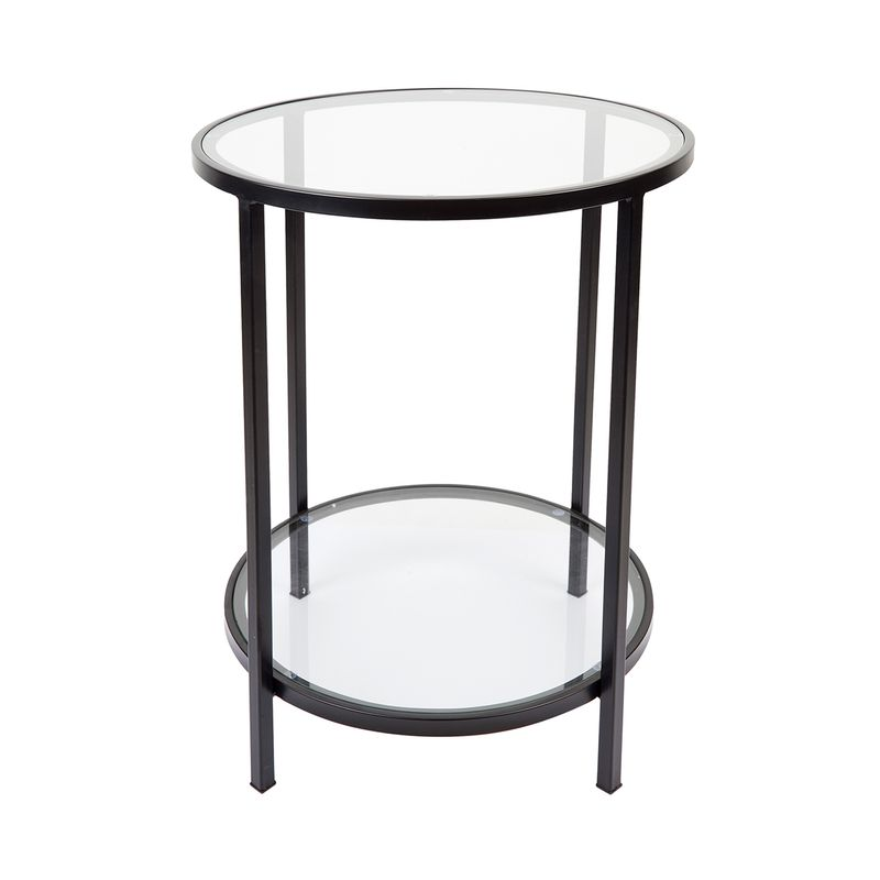 Cocktail Glass Round Side Table - Black