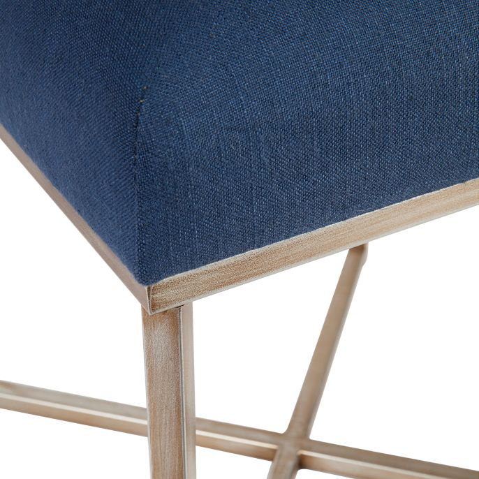 Margot Tufted Stool - Navy Linen
