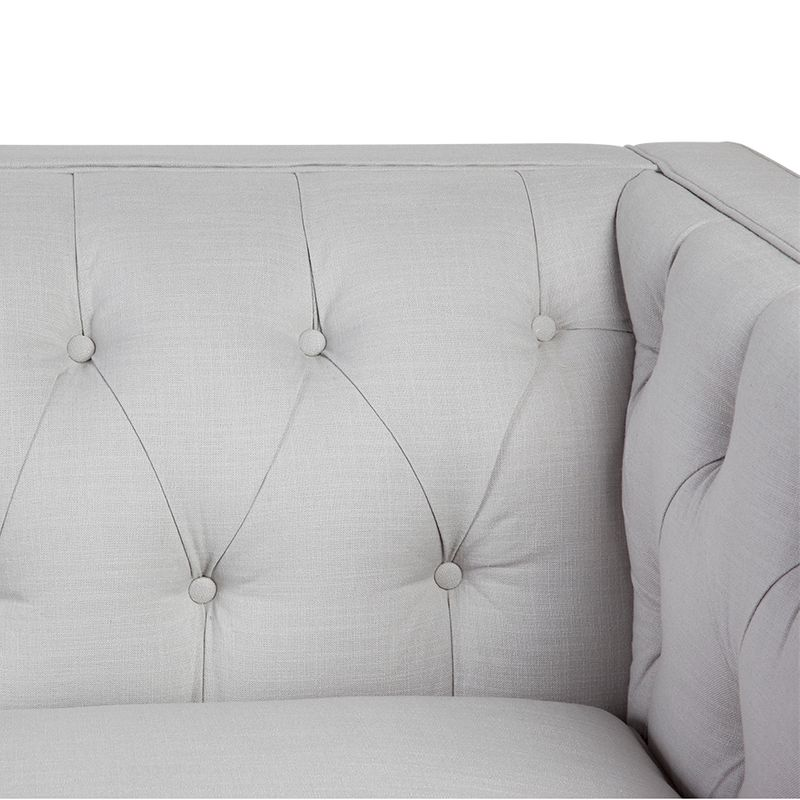 Tuxedo 3 Seater Tufted Sofa - Cool Grey Linen